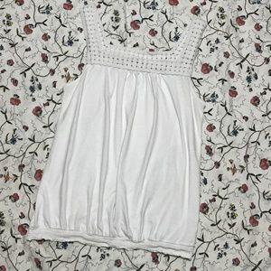 White Crochet-Detail Tank Top - M